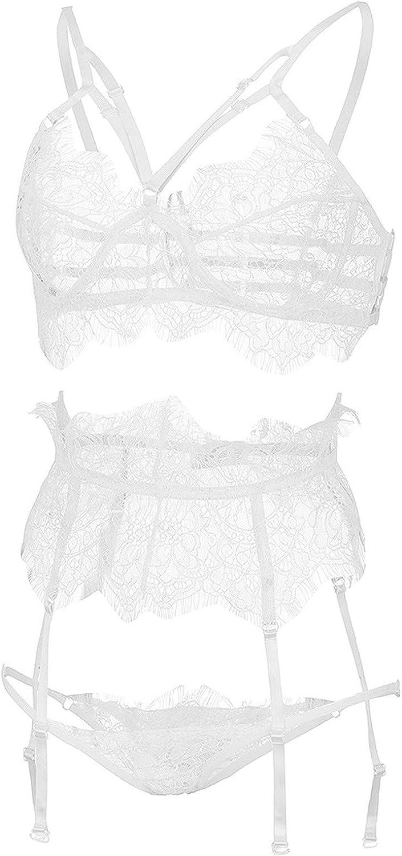 New Sexy Fashion Lace Lingerie Underwear Sleepwear G-String Pajamas Garter Best Gift for Girlfriend Women White