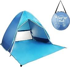 HIEMAO Pop Up Tent, Beach Tent Sun Shelter Instant Sun Shade Portable UV Tent Baby Sun Cabana with Zipper Door for Garden/Beach Times (for 2-3 Person) - Azure