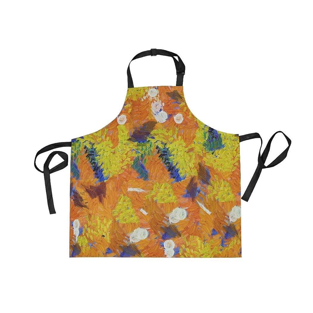 効率的に発揮するふざけたエプロン カフェエプロン 油絵 アレンジ 黄色い 青 首掛け 調節可能 撥水 防汚 飲食店 仕事用 家庭用 男女兼用