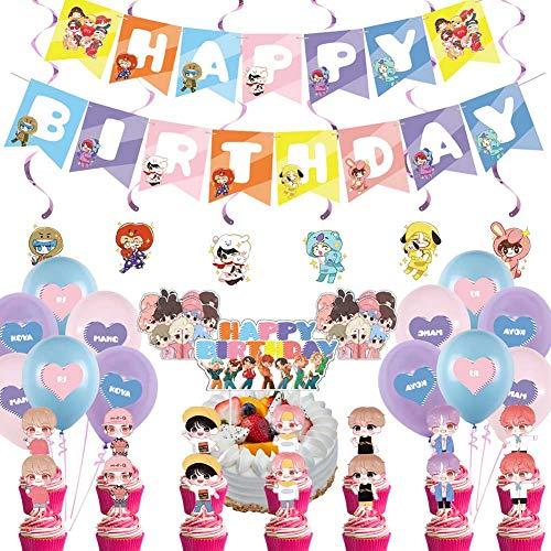 BTS Birthday Decorations Set, NALCY 36 Pcs BTS Conjunto de Decoración de cumpleaños...