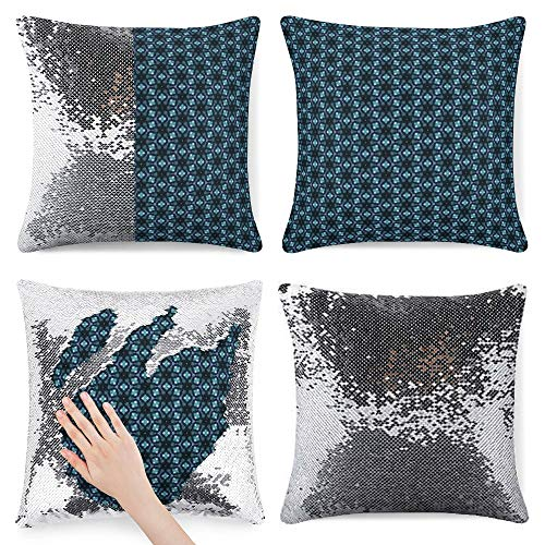 Tamengi Sequin Pillow Cover, Abstract Floral Blue, Zipper Pillowslip Pillowcase, Decorations for Sofas, Armchairs, Beds, Floors, Cars