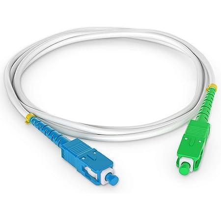 Octofibre - Câble Fibre Optique Freebox - 20m - Renforcée avec Blindage Kevlar - Rallonge/Jarretiere Fibre Optique - SC APC vers SC UPC - Garantie 10 Ans