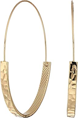 Gold Large Half Tapered Hoop Pierced Earrings