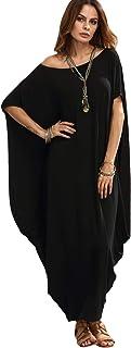 Verdusa Women's Boho One Off Shoulder Caftan Sleeve Harem Maxi Dress