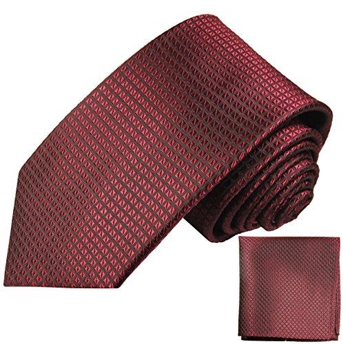 Paul Malone Seidenkrawatten Set 2tlg schmale 6cm Krawatte weinrot Waffelmuster + Einstecktuch (Normallange 150cm)