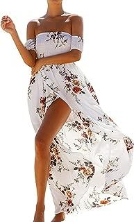 Women's Floral Off The Shoulder Split Chiffon Beach Party Maxi Dress