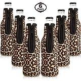 6 Packungen Neopren Flaschenkühler Bierflaschen Kühler Ärmelabdeckungen mit Ringreißverschluss...