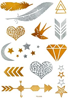 Chic-Net hoja tatuaje patrón plata dorada temporalmente Leo joyería del diamante corazón tatuajes adhesivos