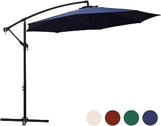 KINGYES 10ft Patio Offset Cantilever Umbrella Market Umbrellas Outdoor Umbrella with Crank & Cross Base for Garden, Deck,Backyard and Pool (Beige, 10 Ft) (10 FT, Navy)
