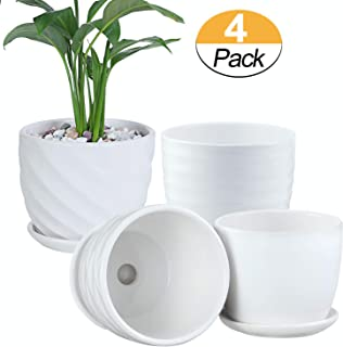 Plant Pots - 4.7 Inch Cylinder Ceramic Planters with Connected Saucer, Pots for Succuelnt and Little Snake Plants, Set of 4, White