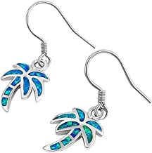 Opal Palm Tree Dangling .925 Sterling Silver Earrings COLORS AVAILABLE