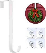 Metal De Kroon Hanger for thuiskantoor Deur Christmas Metal Krans Decoratie Hook met 4 stuks 20 pond Adhesive Haken (WHI z...