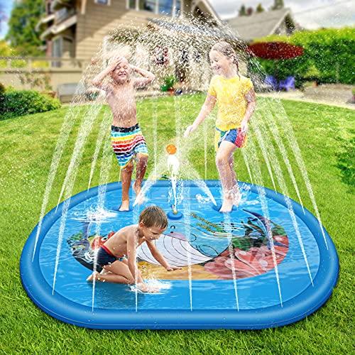 Henreal Sprinkler Play Matte 2021 Neu Splash Pad, 190 * 150cm Wasser-Spielmatte Mit Schritt auf Wasser Spiele Spielen, Splash Play Matte - Sommer Garten Wasserspielzeug für Kinder Party und Haustiere