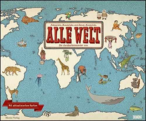 Alle Welt 2021 – Landkarten-Kalender von DUMONT– Kinder-Kalender – Querformat 58,4 x 48,5 cm
