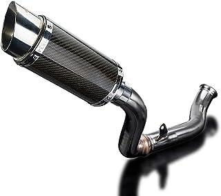 "Delkevic Aftermarket De-Cat Slip On compatible with KTM 690 Duke Mini 8"" Carbon Fiber Round Muffler 13-18"