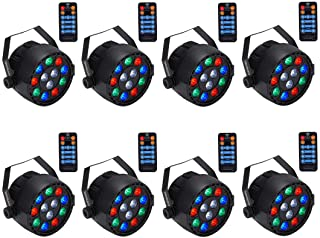 Stage Lights, SAHAUHY RGBW 8 Channel Remote Control with Sound Activated, Party Lights Compatible with DMX for Bar Club Party Wedding (8 Packs)