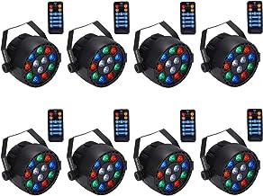 Stage Lights,SAHAUHY 12x1W LED RGB Dj Par Lights Sound Activated Remote DMX Control uplighting for Wedding Event Club Part...