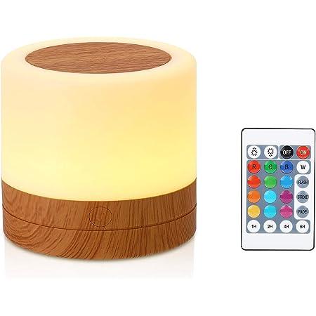 Taipow Veilleuse, Mini Lampe de Chevet Multicolore à 360°, Lampe Nuit Rechargeable avec Toucher Luminosité Ajustable Télécommande
