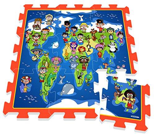 Stamp - Tp674005 - Puzzle De Sol - TAPIS MOUSSE - Je Découvre Le Monde Avec Les Enfants Et Les Animaux Du Monde - Tapis Mousse - 88 X 88 X 1,5 Cm - 9 Pièces