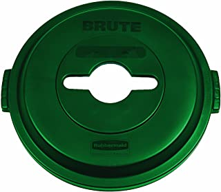 Rubbermaid Commercial 1788471 BRUTE Heavy-Duty Round Waste/Utility Container, 32-gallon Single-Stream Recycling Lid, Green