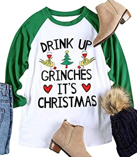 Drink UP Grinches It's Christmas Shirts for Women Plus Size 3/4 Sleeve Funny Christmas Raglan Baseball Tee Shirt Top