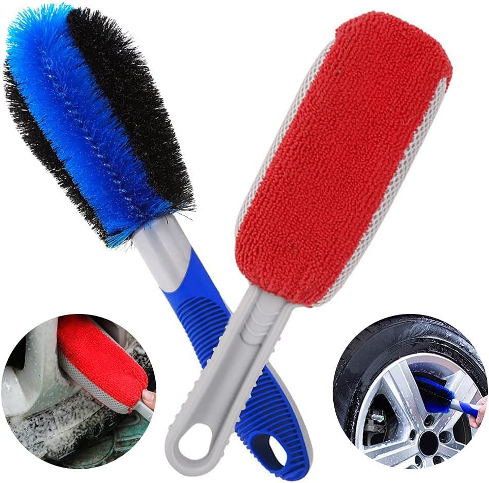 O-Kinee Cepillo de Esponja+Cepillo para Llantas, Cepillo Limpiador Llantas para llanta de Aluminio, Limpia Llantas llanta Coche, Productos Limpieza Coche para lantas de Moto y Bicicleta
