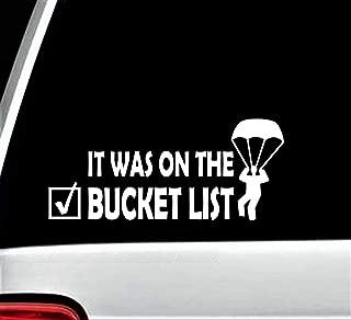 Skydiving Bucket List Parachute Decal Sticker for Car Window 8.0 Inch BG 331