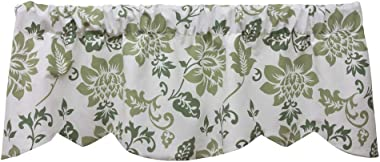 540V Jacobean Abstract 53 Inches Wide x 16 Inches Long Cotton Lined Beacon Valance Curtain, Leaf Green