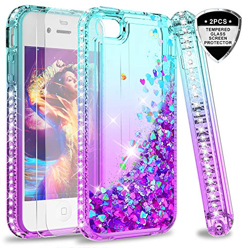 LeYi Hülle iPhone 4 / iPhone 4S Glitzer Handyhülle mit Panzerglas Schutzfolie(2 Stück), Diamond Cover Bumper Schutzhülle für Case iPhone 4 / iPhone 4S Handy Hüllen ZX Gradient Turquoise Purple