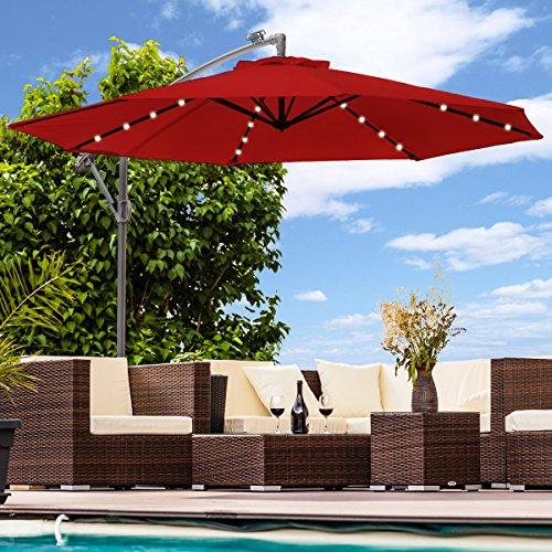 Swing&Harmonie Sonnenschirm mit LED Beleuchtung Ampelschirm 300cm / 350cm Solar Garten Schirm Pavillon (Ø 300cm, Rot)