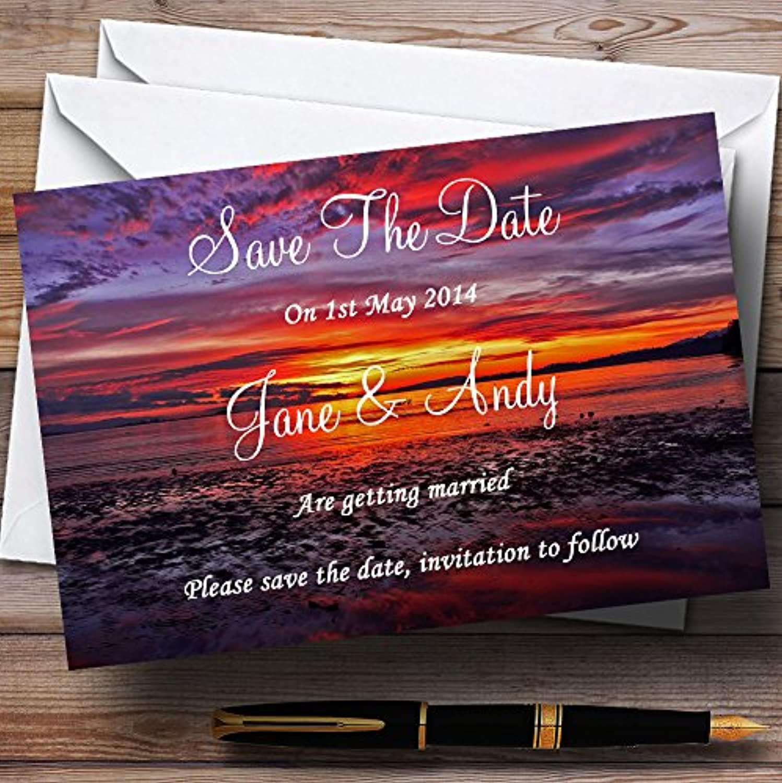 Beautiful Purple Sunset Beach Personalised Wedding Stationery Save The Date Cards