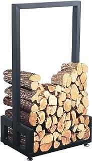 MBQQ 工業&素朴 高耐久 薪 薪 薪 ラック 家庭 暖炉 装飾 屋内 屋外 錬鉄 薪ホルダー 木材収納 積み重ね ブラック