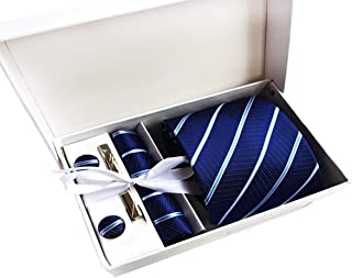 MENDENG Men's Royal Blue Stripe Necktie Tie Clip Pocket Square Cufflinks Set