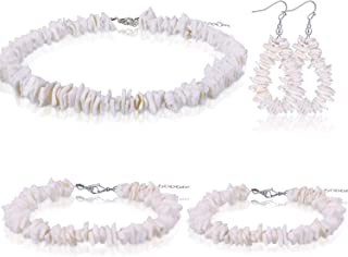 4 Pieces Puka Shell Set Includes Clam Chip Shell Necklace and Earring, Hawaiian Shell Bracelet and Anklet for Women