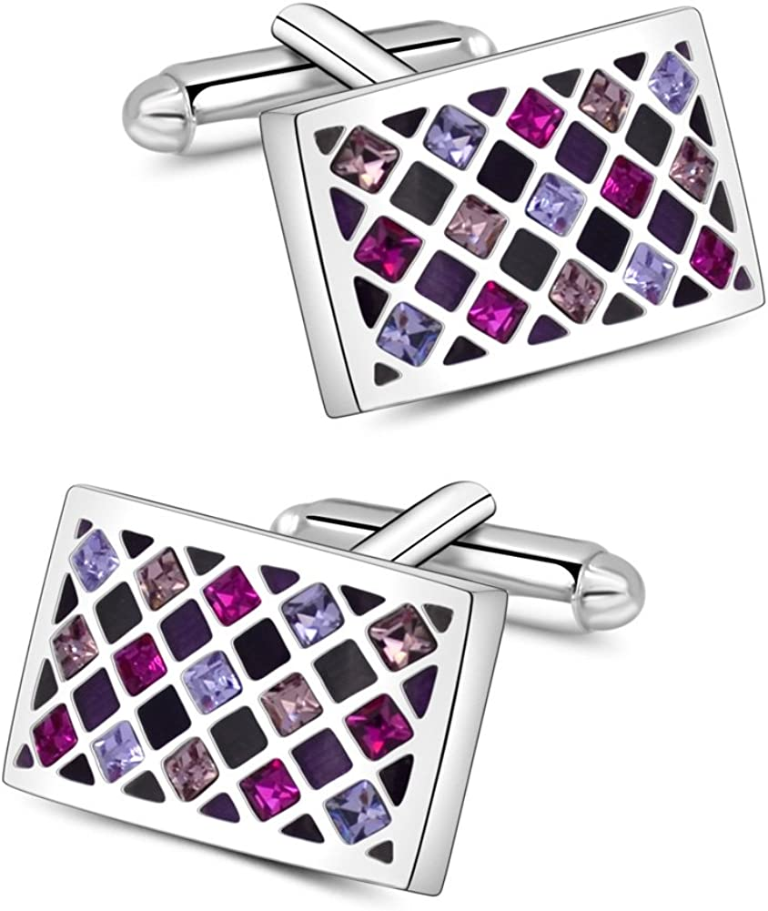 Super beauty product restock quality top Mr.Van Elegant Swarovski Crystal Cufflinks G Purple Max 46% OFF Groovy Green