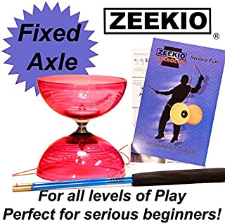 Zeekio Crystal Series Master Spin Diabolo - Fixed Axle, Durable Transparent cups, Comes with Sticks, String and Instructions - Red