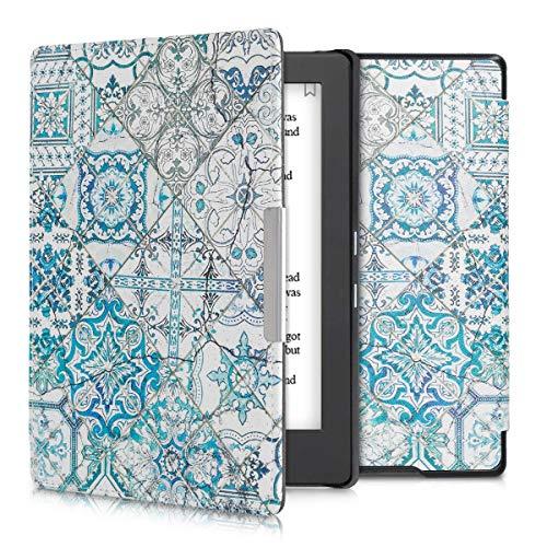 kwmobile Klapphülle kompatibel mit Kobo Aura H2O Edition 1 - Hülle eReader - Marokkanische Fliesen Uni Blau Grau Weiß