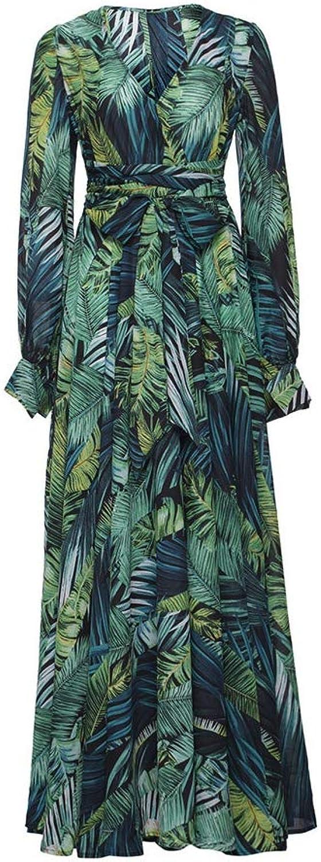Aignse Long Sleeve Dress Green Tropical Beach Maxi Dresses Casual V Neck Belt Lace Up Tunic Draped Plus Size Dress