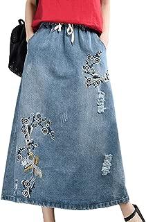 Women Casual Denim Skirts Long Length Style Embroidery A Line Pockets YAA
