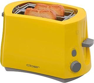 Cloer 3317-2 Cool Wall-brödrost, 825 W, för 2 brödskivor, integrerad brödfäste, smullåda, efterlyftningsanordning, gul, plast