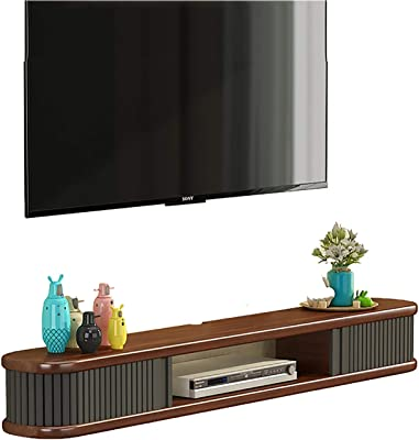 TV Cabinet, TV Lowboard, Floating Shelves, Floating TV Console, Modern Wall Mounted Media Console, Mid-Century Modern Low Profile 31.4/39.1/47.2/55.1/62.9 Inch TV Stand in Walnut. (Size : 120cm)