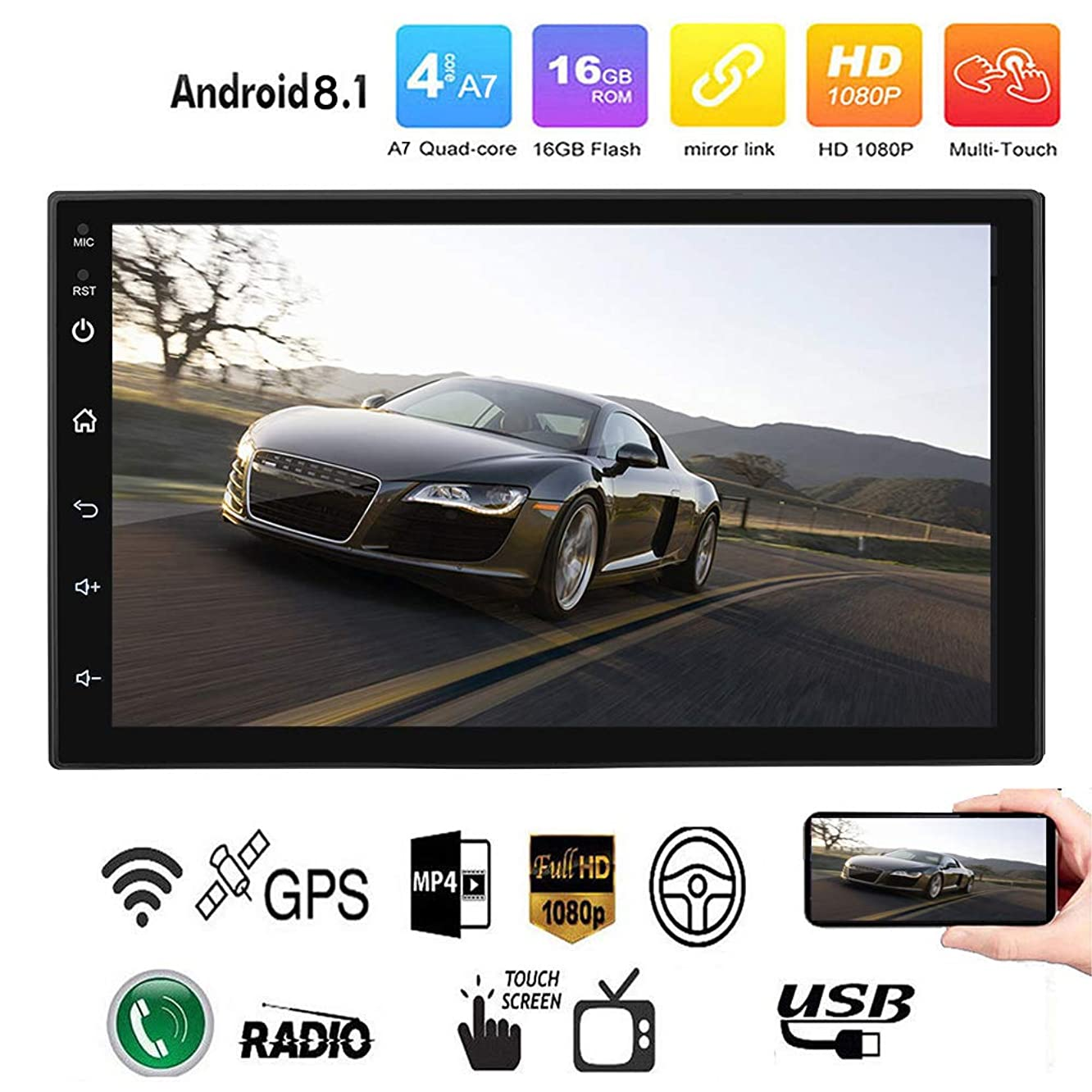 Binize Android 8.1 GPS Navigation for Car Stereo Radio Quad Touch Screen 7 inch in Dash Auto Video Double 2Din Multimedia no DVD Player Mp3 Mp5 with Bluetooth WiFi DAB OBD SWC Car GPS Navigation