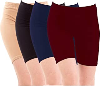 Pixie Biowashed Cycling Shorts for Girls/Women/Ladies Combo (Pack of 4) Beige, Black, NavyBlue, Maroon - Free Size