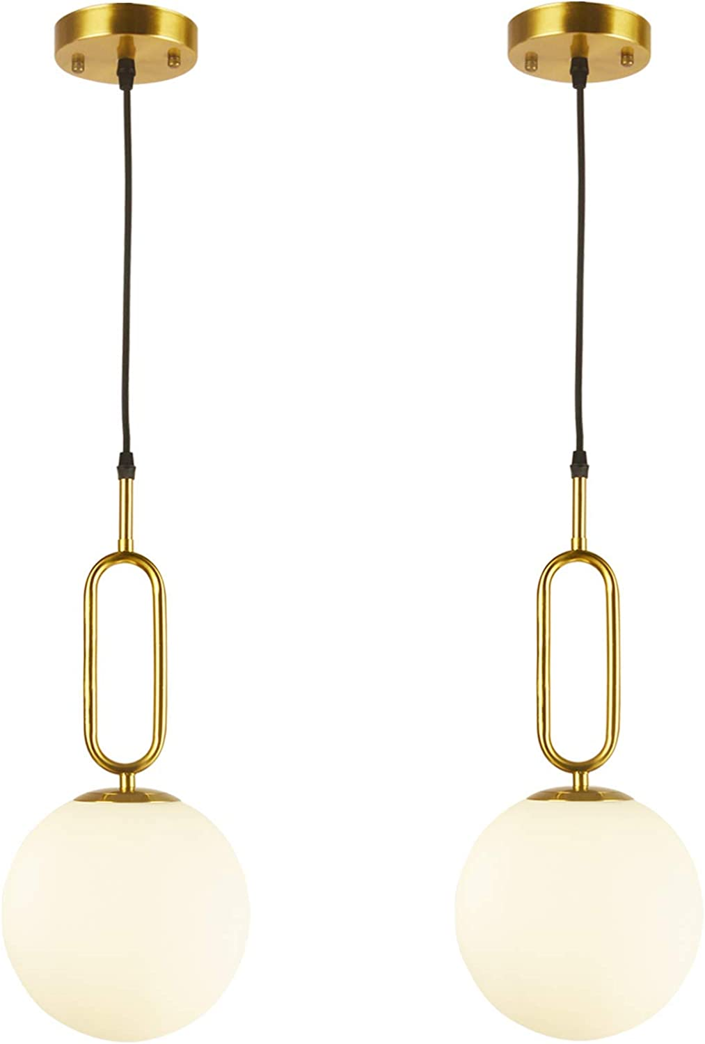 BAODEN 211 Lights Modern Globe Pendant Light Fixture Set of 21 Mid Century  Chandelier Brushed Brass Finished with White Globe Glass Lampshade Living  Room ...