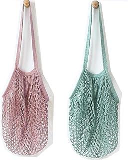 Metyou Bolsa de la compra reutilizable de red de algodón, sirve como bolso o bolsa para frutas, 2 unidades