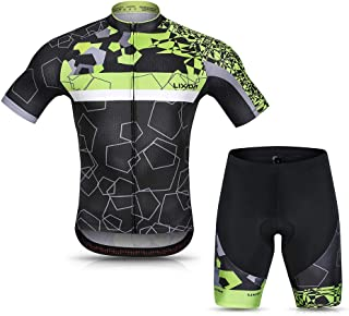 Lixada Men Cycling Jersey Set Breathable Quick-Dry Short Sleeve Biking Shirt and Gel Padded Shorts MTB Cycling Outfit Set
