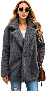 DUBUK Womens Open Front Fuzzy Cardigan Warm Fleece Jacket Coat Long Sleeve Oversized Coat Outwear with Pockets