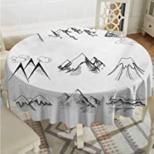 ScottDecor Banquet Round Tablecloth Mountain Snowy ICY Mountain Tops Peaks in Winter Hand Drawn Style Climbing Collection Black and White Christmas Tablecloth Diameter 70