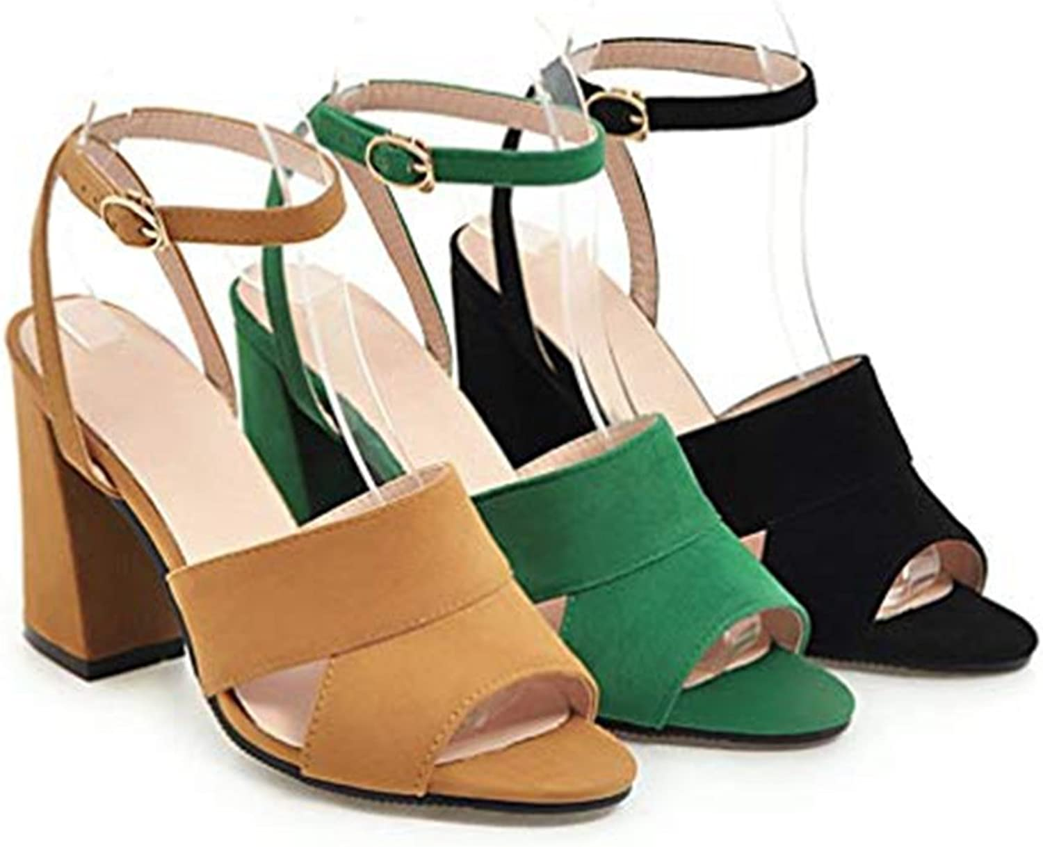T-JULY Suede Ankle Strap Chunky Heeled Peep Toe Slide Sandals for Women Evening Wedding Party Dress Roman Pump