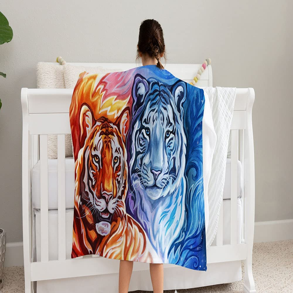 GANTEE Drawing Sacramento Mall Two Tigers Fire Cheap SALE Start Ice Cozy Bl and Fleece Super Soft